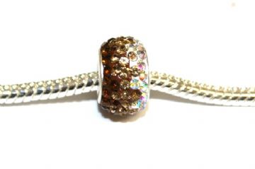 1pce x Coffee - gold - clear 12mm x 8mm pave crystal beads - Pave Crystal Beads with 5mm hole PS-S-12- 038